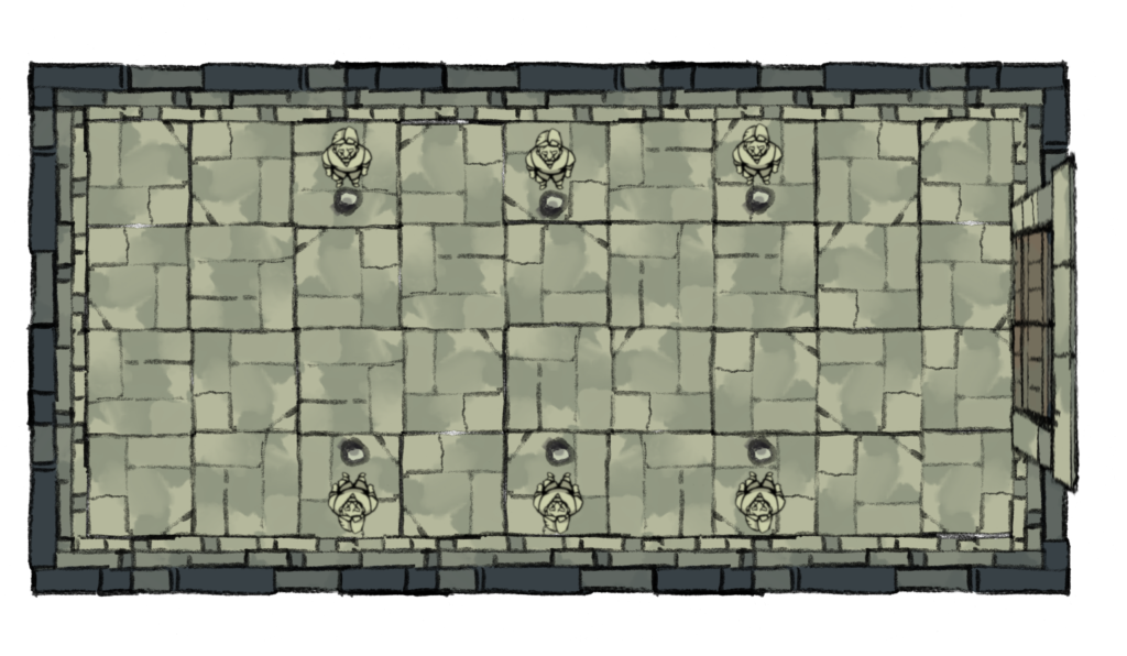 Image ID: an artistic rendering of a rectangular room view from above. There are six statues placed along the top and bottom, there is a door at one end.